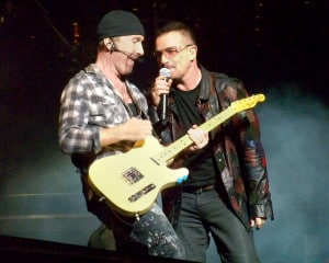 Bono and The Edge on a concert