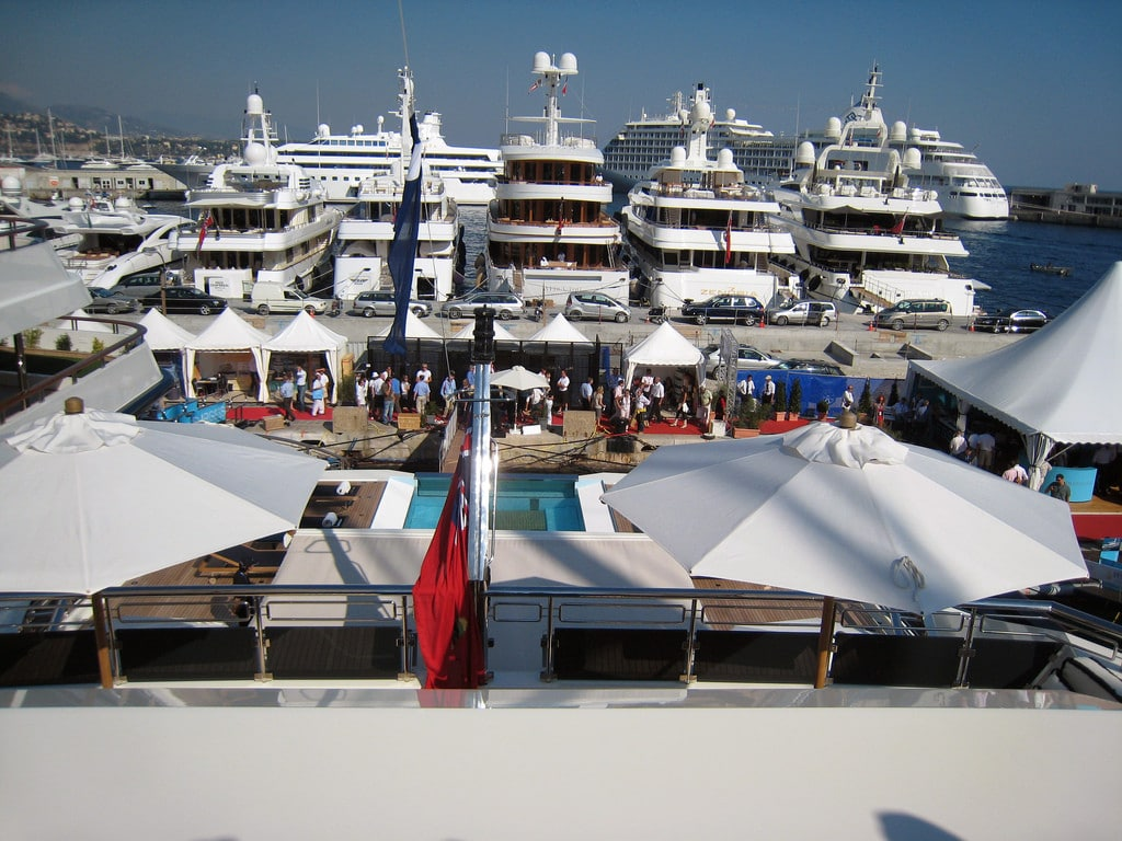 Monaco Yacht show dock with yachts
