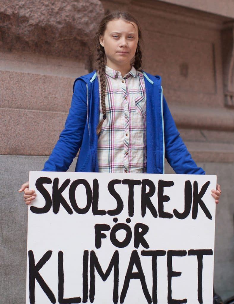 Activist Greta Thunberg protesting. from Wikipedia